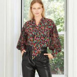 Who What Wear Leopard Print Balloon Sleeve Blouse